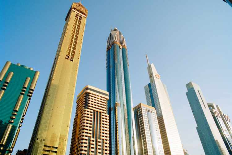 Skyscrapers along Sheikh Zayed Road at dusk
